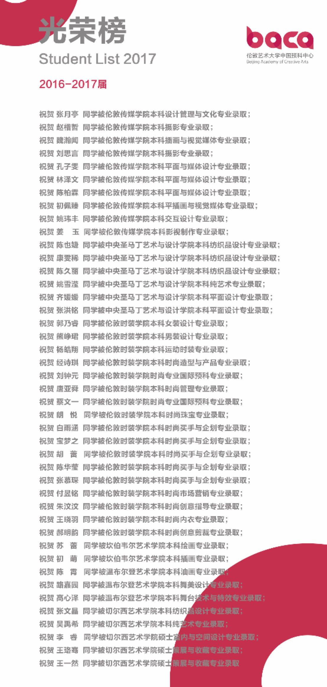 2016-2017BACA毕业生光荣榜